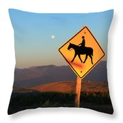 Horse Crossing Throw Pillow