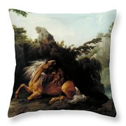 Horse Devoured By A Lion Throw Pillow