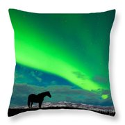 Horse Distant Snowy Peaks With Northern Lights Sky Throw Pillow