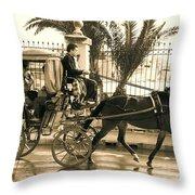 Horse Drawn Carriage Ride Throw Pillow
