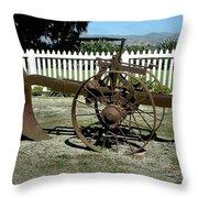 Horse Drawn Plow Throw Pillow