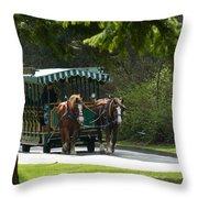 Horse Drawn Trolely Throw Pillow