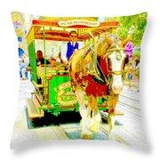 Horse Drawn Trolley Car Main Street Usa Throw Pillow