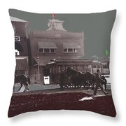 Horse Drawn Trolleys The Great White Hope Set Globe Arizona 1969-2013  Throw Pillow