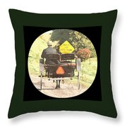 Horse Drawn Vechicles Round Throw Pillow