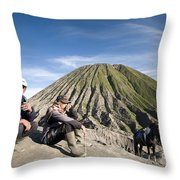 Horse Drivers Near A Volcano At Bromo Java Indonesia Throw Pillow
