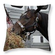 Horse Eating Hay Throw Pillow
