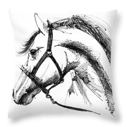 Horse Face Ink Sketch Drawing Throw Pillow