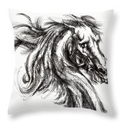 Horse Face Ink Sketch Drawing - Inventing A Horse Throw Pillow