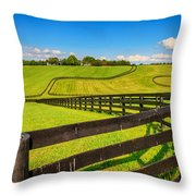 Horse Farm Fences Throw Pillow