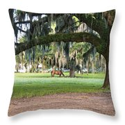Horse Feeding Under Live Oak Throw Pillow