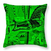 Green Horse E Throw Pillow