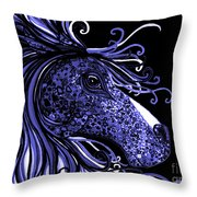 Horse Head Blues Throw Pillow