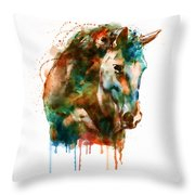 Horse Head Watercolor Throw Pillow