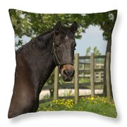 Horse In Spring Throw Pillow