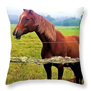 Horse In The Pasture Throw Pillow