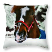 Horse In The Snow Throw Pillow