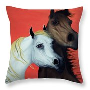 Horse Lovers In Red  Sold Throw Pillow