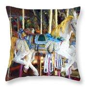 Horse On Carousel Throw Pillow