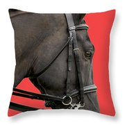 Horse On Red Throw Pillow