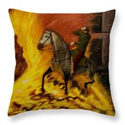 Horse On The Fire Throw Pillow