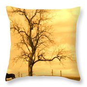 Horse On The Hill Throw Pillow
