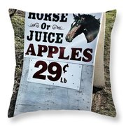 Horse Or Juice Apples Throw Pillow