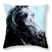 Horse Painted Black Throw Pillow
