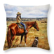 Horse Painting - Waiting For Dad Throw Pillow