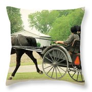 Horse Powered Transportation Throw Pillow