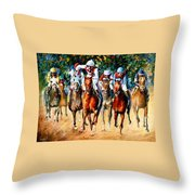 Horse Race - Palette Knife Oil Painting On Canvas By Leonid Afremov Throw Pillow