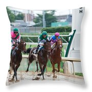 Horse Races At Churchill Downs Throw Pillow