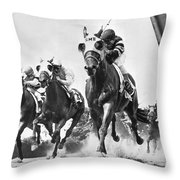 Horse Racing At Belmont Park Throw Pillow by Underwood Archives