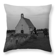 Horse Riders By The Church Throw Pillow