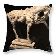 Horse Statuette Throw Pillow