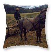 Horsedrawn Harvester Hay Rake On The Berta Ranch Carmel Valley California Circa 1950 Throw Pillow