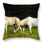 Horses Among Wildflowers Throw Pillow