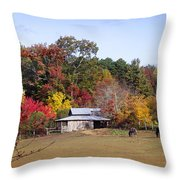 Horses And Barn In The Fall 2 Throw Pillow