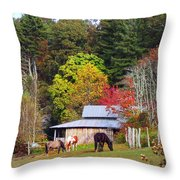 Horses And Barn In The Fall Throw Pillow