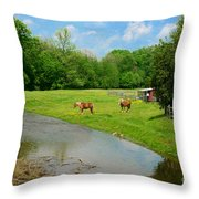 Horses At Home On The Range Throw Pillow