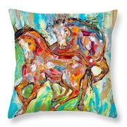 Horses At Play II Throw Pillow