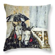 Horses At Stephansdom  Throw Pillow
