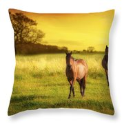 Horses At Sunset Throw Pillow