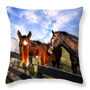 Horses At The Fence Throw Pillow
