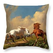 Horses Balking At Approaching Storm Throw Pillow