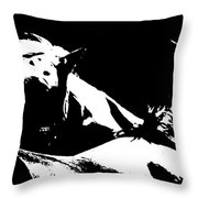Horses - Black And White Throw Pillow