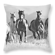 Horses Crest The Hill Throw Pillow by Carol Walker