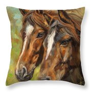Horses Throw Pillow by David Stribbling