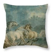 Horses Fighting Throw Pillow