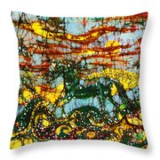 Horses Frolic Above The Sea Throw Pillow